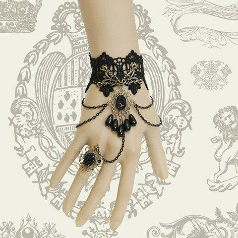 Retro Rhinestone Tassels Decorated Lace Bracelet With Ring - BLACK ONE SIZE