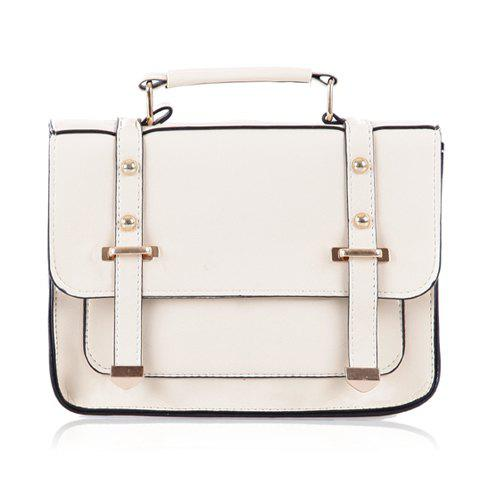 New Arrival Pure Color and Rivets Design Tote Bag For Women - WHITE