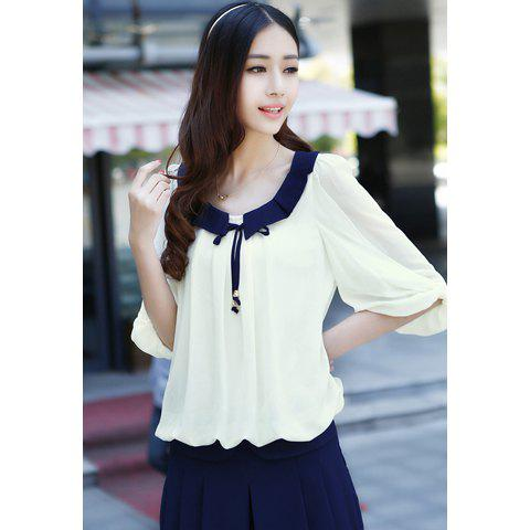 Chiffon Color Block Sweet Style Scoop Neck 3/4 Sleeves Women's Blouse tv driver board hx v29 39 l