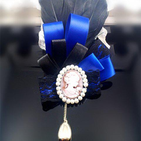 Elegant Queen Print and Beads Embellished Women's Feather Brooch - SAPPHIRE BLUE