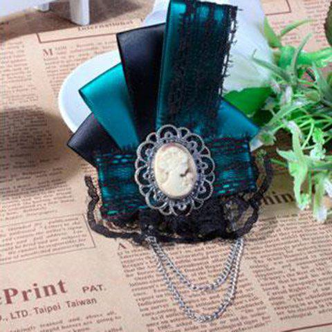 Gorgeous Queen Print Tassels and Lace Embellished Women's Ribbon Brooch - DEEP GREEN