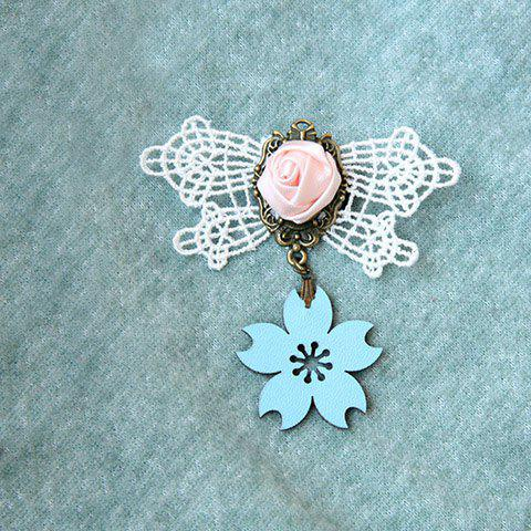Retro Sakura Shape Pendant and Handmade Rose Embellished Lace Brooch For Women - AS THE PICTURE