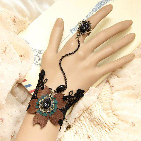 Retro Flower Shape and Rhinestone Decorated Lace Bracelet With Ring For Women - AS THE PICTURE ONE SIZE