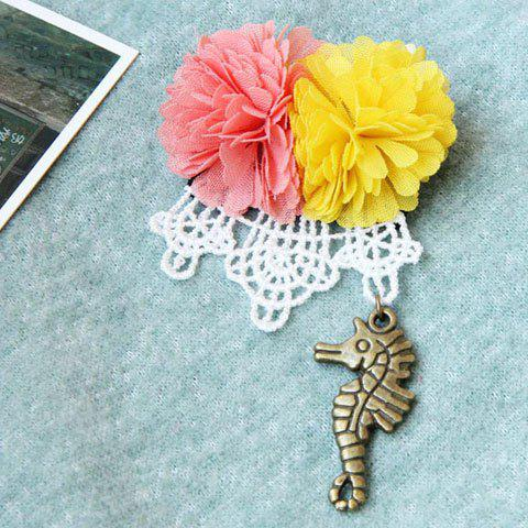 Vintage Chiffon Sea Horse Flower Pendant Brooch - AS THE PICTURE