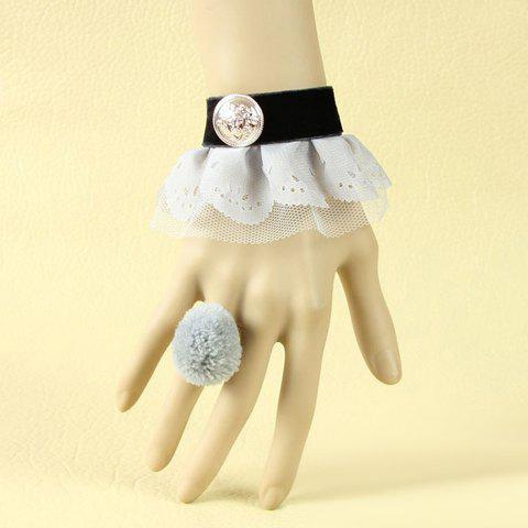 Retro Velvet Strip Badge Decorated Lace Bracelet With Pompon Ring - AS THE PICTURE ONE SIZE
