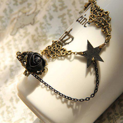 Five Point Star Decorated Alloy Bracelet with Flower Ring - BLACK ONE SIZE
