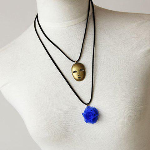 Mask Shape Flower Decorated Sweater Chain Necklace - AS THE PICTURE