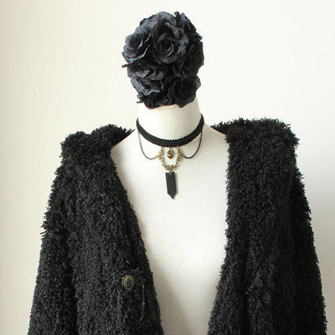 Punk Style Heart Shape and Tassels Decorated Women's Knitted Necklace - BLACK