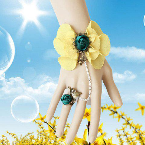 Bunny Shape Flower Decorated Bracelet With Butterfly Ring - YELLOW ONE SIZE