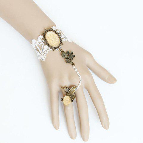 Elegant Flower and Rhinestone Decorated Women's Lace Bracelet With Butterfly Shaped Ring - WHITE ONE SIZE