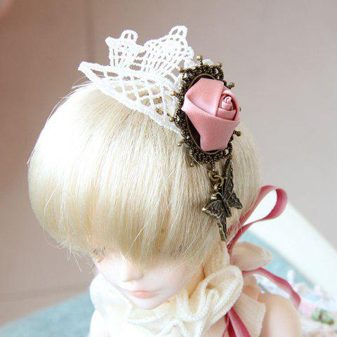 Sweet Alloy Butterfly Shape and Handmade Rose Embellished Women's Lace Brooch - WHITE