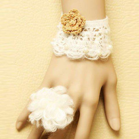 Sweet Woolen Embellished Flower Women's Bracelet With Ring - AS THE PICTURE ONE SIZE