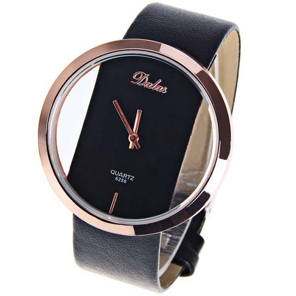 Dalas Quartz Watch with Hollow-out Dial Leather Watchband for Women (Black) - BLACK