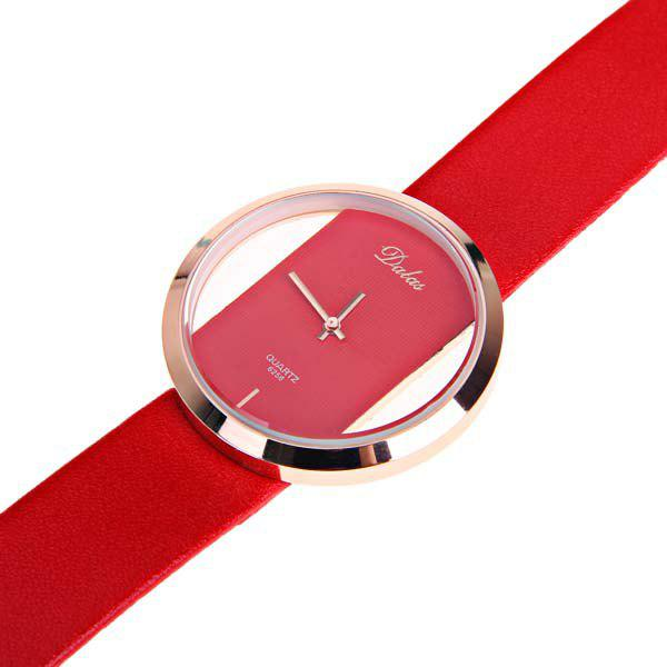 Dalas Quartz Watch with Hollow-out Dial Leather Watchband for Women (Black) - RED