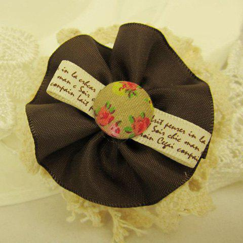 Tiny Floral English Print Flower Shaped Brooch - COLOR ASSORTED