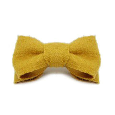 Simple Solid Color Bowknot Embellished Women's Woolen Headflower - GINGER