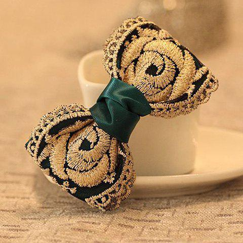 Delicate Ribbon and Lace Embellished Women's Bowknot Hair Clip