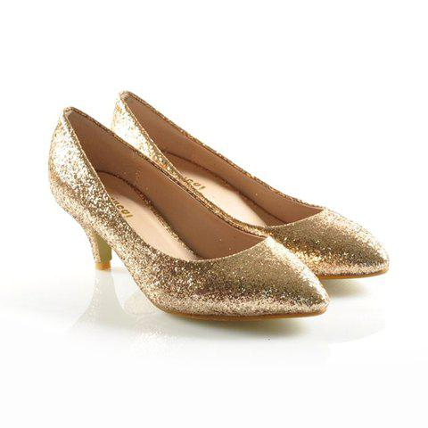 Party Kitten Heel and Sparking Glitter Design Women's Pumps - GOLD 38
