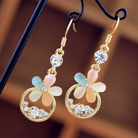 Colored Flower Rhinestone Drop Earrings - AS THE PICTURE