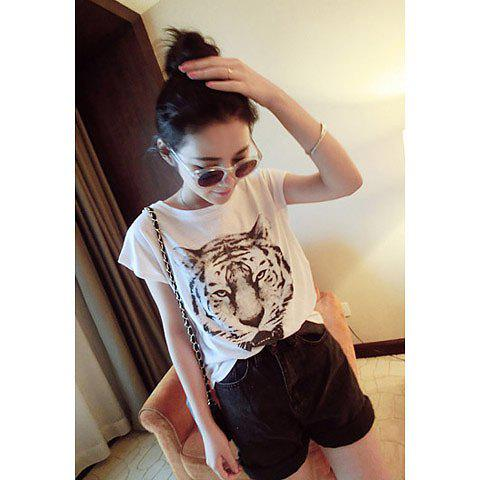 Women's Round Collar Tiger Head Pattern Plus Size T-Shirt - WHITE ONE SIZE