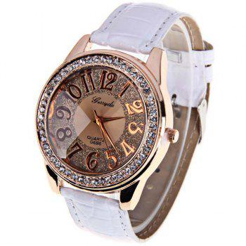 Gerryda Quartz Watch with12 Arabic Numbers Indicate Leather Watch Band for Women (White)