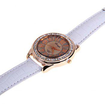 Gerryda Quartz Watch with12 Arabic Numbers Indicate Leather Watch Band for Women (White) -  WHITE