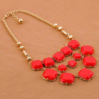 Multilayered Faux Gemstone Embellished Alloy Necklace - RED RED