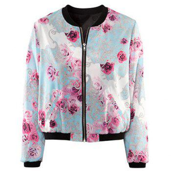 Women's Popular Stand Collar Zipper Flower Print Long Sleeve Jacket