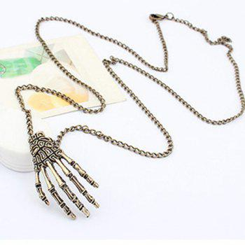 Retro Hyperbolic Skeleton Hand Shaped Alloy Sweater Chain For Men and Women