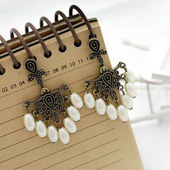Pair of Faux Pearl Tassels Fringe Embellished Earrings For Women