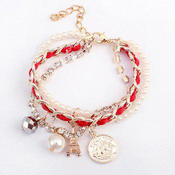 Alloy Faux Pearl Pendant Multilayered Bracelet