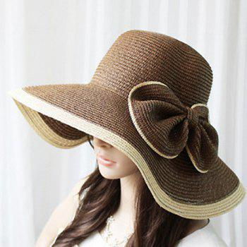 Exaggerated Bicolor Bowknot Embellished Broad Brim Straw Cap