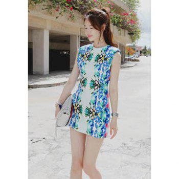 Women's Fashional Sleeeveless Slim Fit Over Hip Floral Print Beach Dress