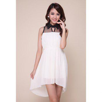 Stylish Polo Neck Mesh Splicing Color Block Women's High-Low Chiffon Dress