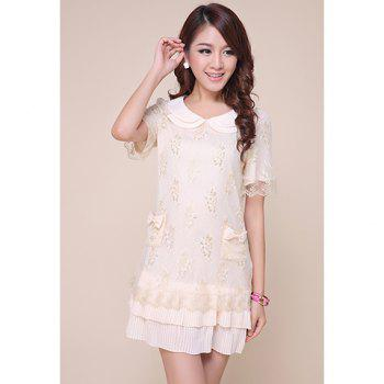 Fairy Peter Pan Neck Lace Covered Women's Chiffon Dress - AS THE PICTURE M