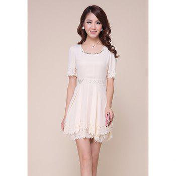 Refreshing Short Sleeves Openwork Edge Solid Color Women's Dress