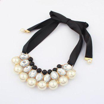 Faux Crystal Pearl Ribbon Necklace