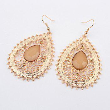 Pair of Exquisite Acrylic Gemstone Embellished Openwork Fringed Earrings For Women