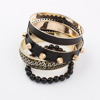 Rivet Embellished Multi-Layered Alloy Faux Leather Bracelet