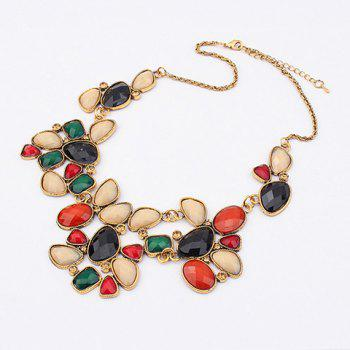 Alloy Rhinestoned Faux Gemstone Geometric Pendant Necklace - COLOR ASSORTED COLOR ASSORTED