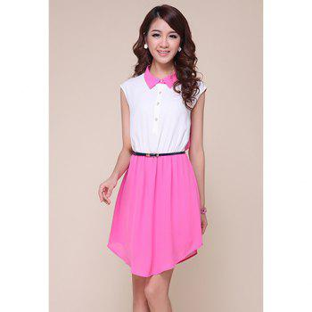 Retro Style Color Block Polo Neck Women's Chiffon Dress