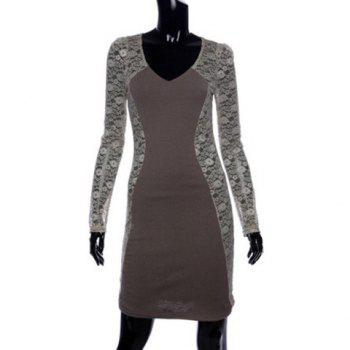 Stylish V-Neck Bodycon Floral Pattern Lace Splicing Long Sleeves Women's Club Dress - GRAY GRAY