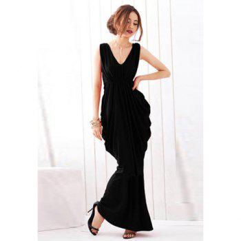 High Waist Elegant V-Neck Knotted Backless Women's Dress