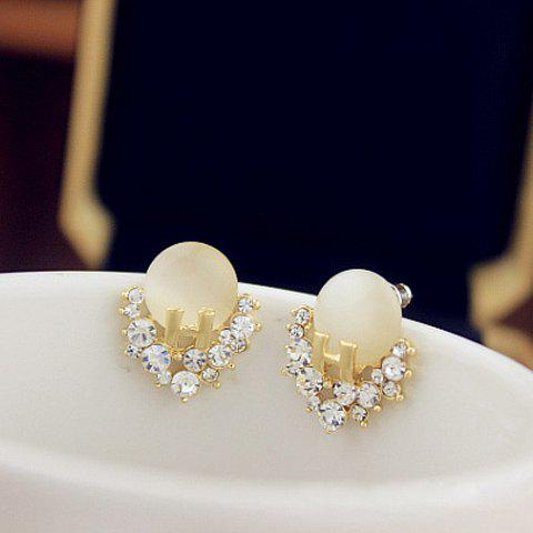 Delicate Letter H Shape and Rhinestone Embellished Women's Faux Gem Earrings - AS THE PICTURE