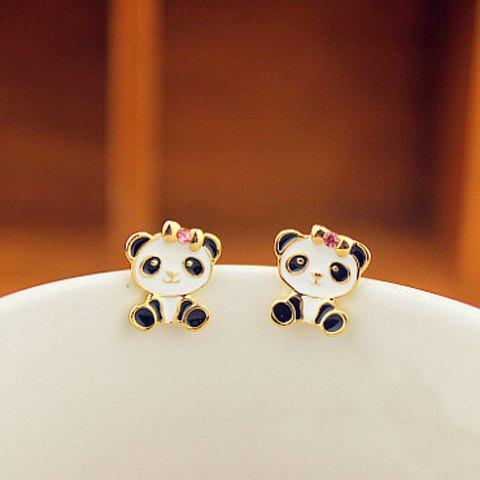Pair Of Sweet Alloy Panda Shape and Rhinestone Embellished Women's Earrings