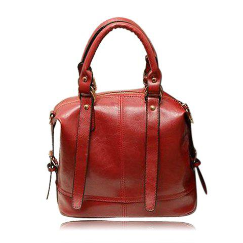 Casual Candy Color PU Leather and Buckles Design Women's Tote Bag - WINE RED