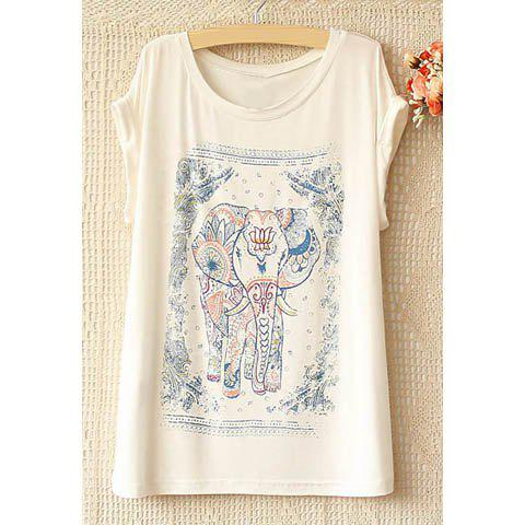 Women's Ethnic Style Scoop Neck Elephant Print Short Sleeve T-Shirt - WHITE ONE SIZE