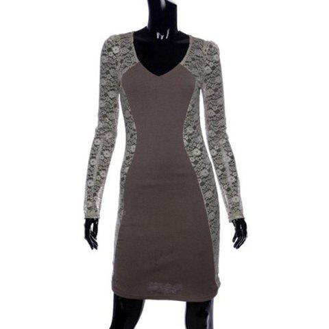 Stylish V-Neck Bodycon Floral Pattern Lace Splicing Long Sleeves Women's Club Dress - GRAY ONE SIZE