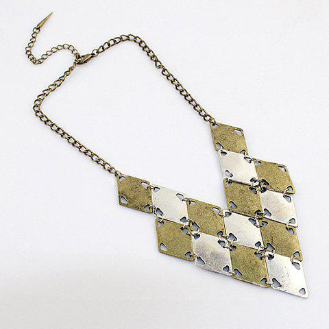 Vintage Style Rhombus Decorated V-shaped Necklace For Women - AS THE PICTURE