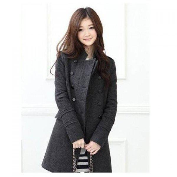 Korean Fashion Style Stand Collar Dust Coat For Female (Long Style) - DEEP GRAY M